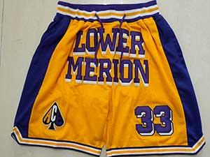 Mens Ncaa Nba Lower Merion #33 Bryant High School Gold Just Don Pocket Shorts