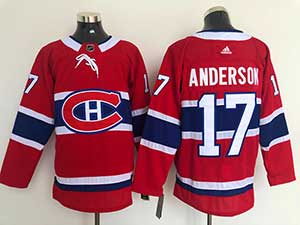 Mens Nhl Montreal Canadiens #17 Josh Anderson 2021 Red Home Adidas Jersey