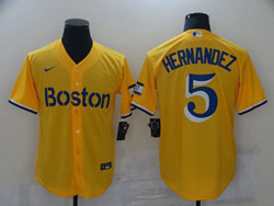 Mens 2021 Mlb Boston Red Sox #5 Enrique Hernandez Yellow Cool Base Nike Jersey