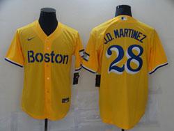 Mens 2021 Mlb Boston Red Sox #28 J.d.martinez Yellow Cool Base Nike Jersey