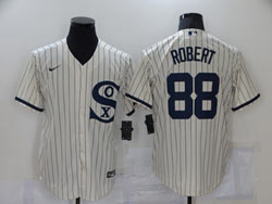 Mens Mlb Chicago White Sox #88 Luis Robert Cream 2021 Field Of Dreams Cool Base Nike Jersey