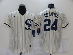 Mens Mlb Chicago White Sox #24 Grandal Cream 2021 Field Of Dreams Cool Base Nike Jersey