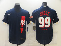 Mens Mlb 2021 All Star New York Yankees #99 Aaron Judge Blue Pullover Flex Base Nike Jersey
