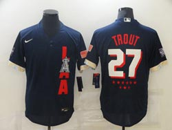 Mens Mlb 2021 All Star Los Angeles Angels #27 Mike Trout Blue Pullover Flex Base Nike Jersey