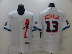 Mens Mlb 2021 All Star Atlanta Braves #13 Ronald Acuna Jr. White Pullover Flex Base Nike Jersey