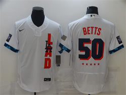 Mens Mlb 2021 All Star Los Angeles Dodgers #50 Mookie Betts White Pullover Flex Base Nike Jersey