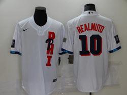 Mens Mlb 2021 All Star Philadelphia Phillies #10 J.t. Realmuto White Pullover Cool Base Nike Jersey