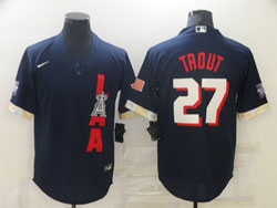 Mens Mlb 2021 All Star Los Angeles Angels #27 Mike Trout Blue Pullover Cool Base Nike Jersey
