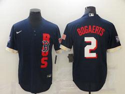 Mens Mlb 2021 All Star Boston Red Sox #2 Xander Bogaerts Blue Pullover Cool Base Nike Jersey