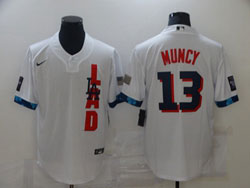 Mens Mlb 2021 All Star Los Angeles Dodgers #13 Max Muncy White Pullover Cool Base Nike Jersey
