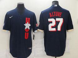 Mens Mlb 2021 All Star Houston Astros #27 Jose Altuve Blue Pullover Cool Base Nike Jersey