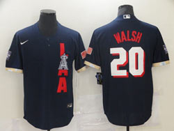 Mens Mlb 2021 All Star Los Angeles Angels #20 Walsh Blue Pullover Cool Base Nike Jersey