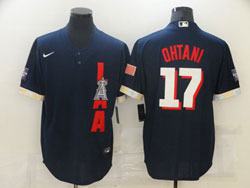 Mens Mlb 2021 All Star Los Angeles Angels #17 Shohei Ohtani Blue Pullover Cool Base Nike Jersey