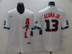 Mens Mlb 2021 All Star San Atlanta Braves #13 Ronald Acuna Jr. White Pullover Cool Base Nike Jersey
