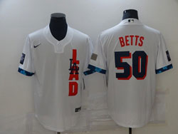 Mens Mlb 2021 All Star Los Angeles Dodgers #50 Mookie Betts White Pullover Cool Base Nike Jersey