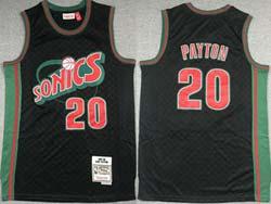 Mens Nba Seattle Supersonics #20 Gary Payton Black Checked Mitchell&ness Hardwood Classics Jersey
