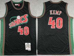 Mens Nba Seattle Supersonics #40 Shawn Kemp Black Checked Mitchell&ness Hardwood Classics Jersey
