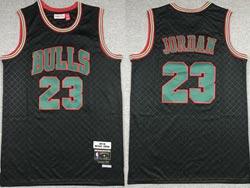 Mens Nba Chicago Bulls #23 Michael Jordan Black Checked Mitchell&ness Hardwood Classics Jersey