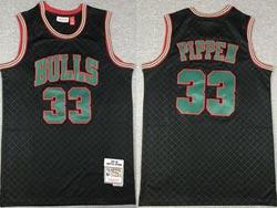 Mens Nba Chicago Bulls #33 Scottie Pippen Black Checked Mitchell&ness Hardwood Classics Jersey