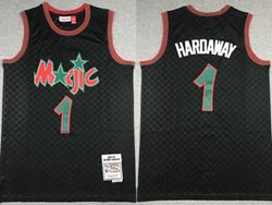 Mens Nba Orlando Magic #1 Tracy Mcgrady Black Checked Mitchell&ness Hardwood Classics Jersey