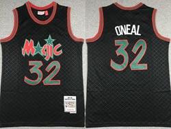 Mens Nba Orlando Magic #32 Shaouille O'neal Black Checked Mitchell&ness Hardwood Classics Jersey