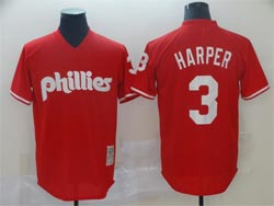 Mens Mlb Philadephia Phillies #3 Bryce Harper Red Pullover Cool Base Jersey