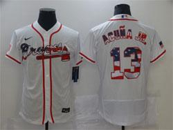 Mens Mlb Atlanta Braves #13 Acuna Jr White Usa Flag Flex Base Nike Jersey