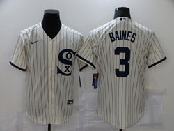 Mens Mlb Chicago White Sox #3 Baines Cream 2021 Field Of Dreams Cool Base Nike Jersey