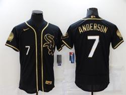 Mens Mlb Chicago White Sox #7 Tim Anderson Black Golden Flex Base Nike Jersey
