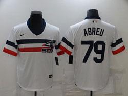 Mens Mlb Chicago White Sox #79 Jose Abreu White Pullover Throwbacks Cool Base Nike Jersey