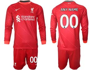 Mens 21-22 Soccer Liverpool Club Custom Made Red Home Long Sleeve Suit Jersey