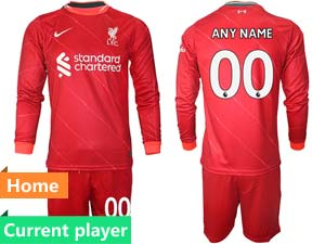 Mens 21-22 Soccer Liverpool Club Current Player Red Home Long Sleeve Suit Jersey