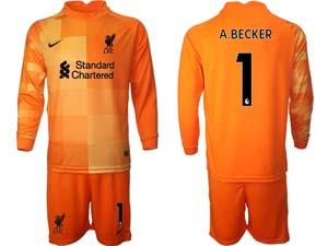 Mens Kids 21-22 Soccer Liverpool Club Custom Made Goalkeeper Long Sleeve Suit Jersey 3colors