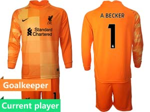 Mens Kids 21-22 Soccer Liverpool Club Current Player Goalkeeper Long Sleeve Suit Jersey 3colors