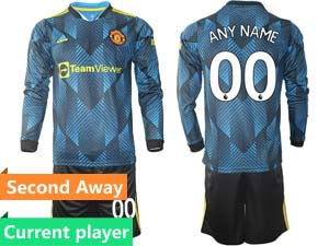 Mens 21-22 Soccer Club Manchester United Current Player Blue Second Away Long Sleeve Suit Jersey