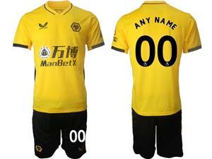 Mens 21-22 Soccer Wolverhampton Wanderers F.c. Club Custom Made Yellow Home Short Sleeve Suit Jersey