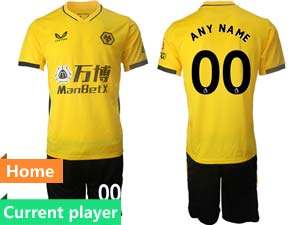 Mens 21-22 Soccer Wolverhampton Wanderers F.c. Club Current Player Yellow Home Short Sleeve Suit Jersey
