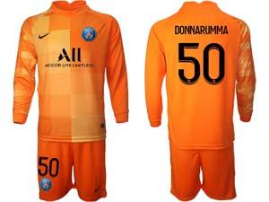 Mens Kids 21-22 Soccer Paris Saint Germain Custom Made Goalkeeper Long Sleeve Suit Jersey 3colors