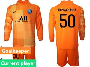 Mens Kids 21-22 Soccer Paris Saint Germain Current Player Goalkeeper Long Sleeve Suit Jersey 3colors