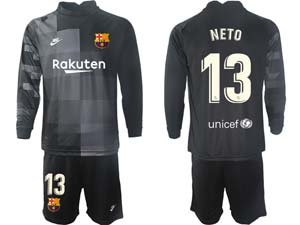 Mens Kids 21-22 Soccer Barcelona Club Custom Made Goalkeeper Long Sleeve Suit Jersey 3colors