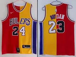 Mens Nba Chicago Bulls #23 Michael Jordan & Los Angeles Lakers #24 Kobe Bryant Red&yellow Split Nike Jersey