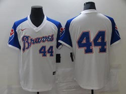 Mens Mlb Atlanta Braves #44 Hank Aaron White Pullover Cool Base Nike Jersey No Name