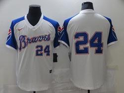 Mens Mlb Atlanta Braves #24 Deion Sanders White Pullover Cool Base Nike Jersey No Name