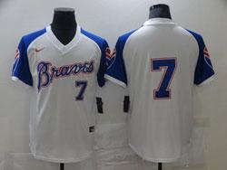 Mens Mlb Atlanta Braves #7 Dansby Swanson White Pullover Cool Base Nike Jersey No Name