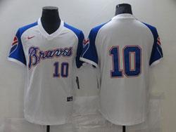 Mens Mlb Atlanta Braves #10 Chipper Jones White Pullover Cool Base Nike Jersey No Name