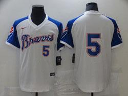 Mens Mlb Atlanta Braves #5 Freddie Freeman White Pullover Cool Base Nike Jersey No Name