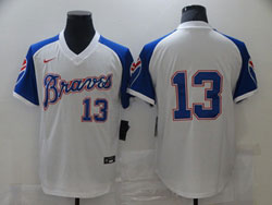Mens Mlb Atlanta Braves #13 Ronald Acuna Jr. White Pullover Cool Base Nike Jersey No Name