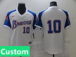 Mens Mlb Atlanta Braves Custom Made White Pullover Cool Base Nike Jersey No Name