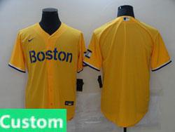 Mens 2021 Mlb Boston Red Sox Custom Made Yellow Cool Base Nike Jersey