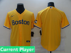 Mens 2021 Mlb Boston Red Sox Current Player Yellow Cool Base Nike Jersey